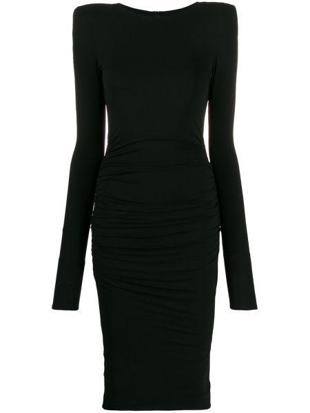 Czarna sukienka midi z długimi rękawami z wiskozy Alexandre Vauthier
