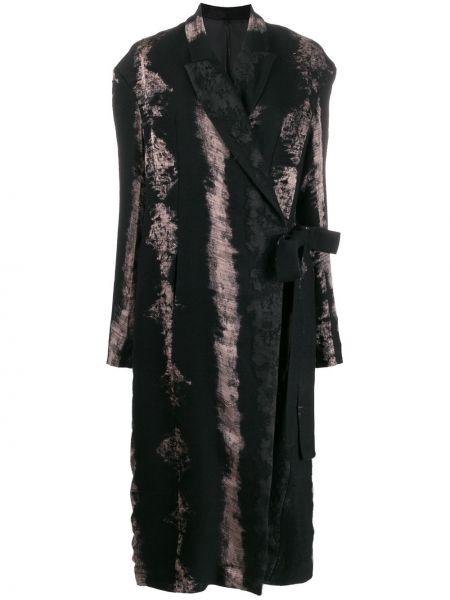 Прямое черное длинное пальто с капюшоном Masnada