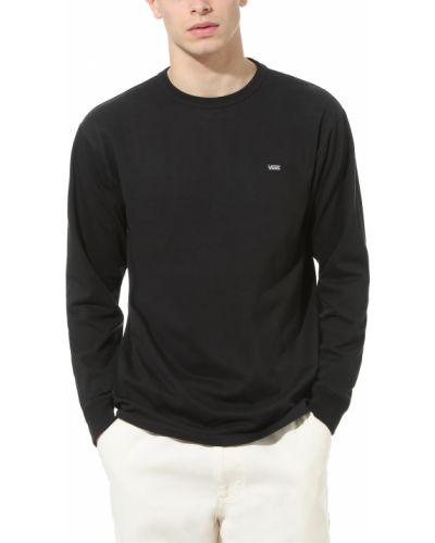 Хлопковая с рукавами черная футболка Vans