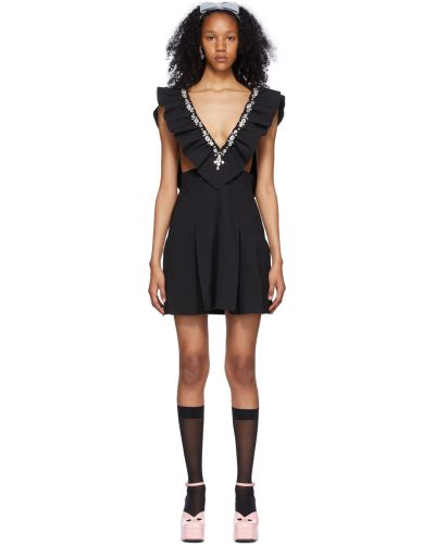 Satynowa czarna sukienka mini bez rękawów Shushu/tong