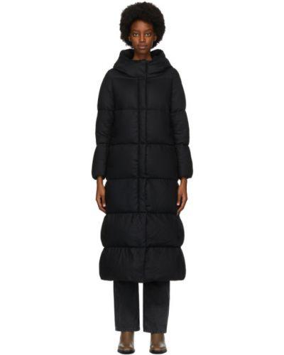 Бежевое пуховое длинное пальто с капюшоном Herno
