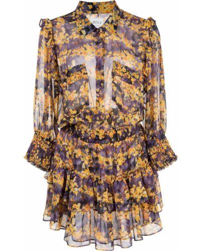 Платье мини на пуговицах с цветочным принтом Misa Los Angeles