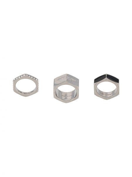 Pierścień ze srebra z ozdobnym wykończeniem Off-white