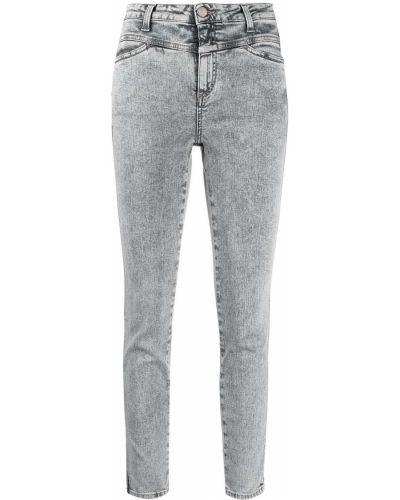 Хлопковые серые джинсы-скинни на молнии Closed