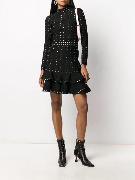 Черное платье с рукавами с оборками с воротником на молнии Sandro Paris