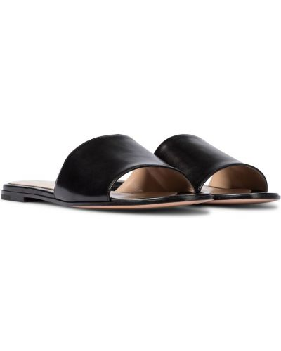 Czarny skórzany spodnie capri Gianvito Rossi