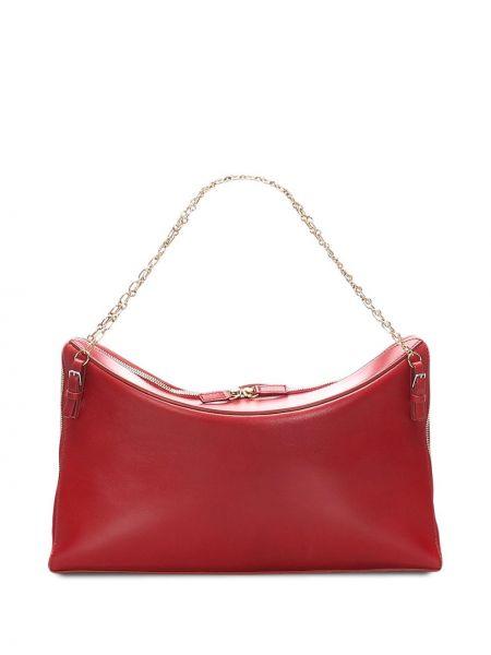 Золотистая кожаная красная сумка на цепочке Céline Pre-owned