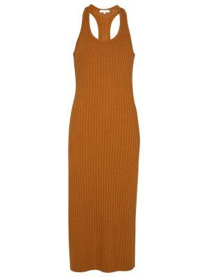 Хлопковое платье миди - коричневое Vince.