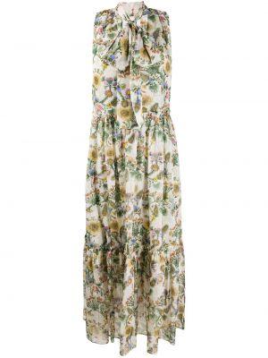 Расклешенное шелковое платье с V-образным вырезом на молнии La Doublej