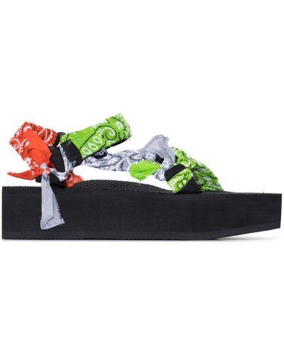 Czarne sandały na platformie materiałowe Arizona Love