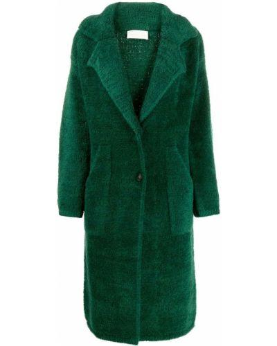 Однобортное длинное пальто с воротником из мохера Chiara Bertani