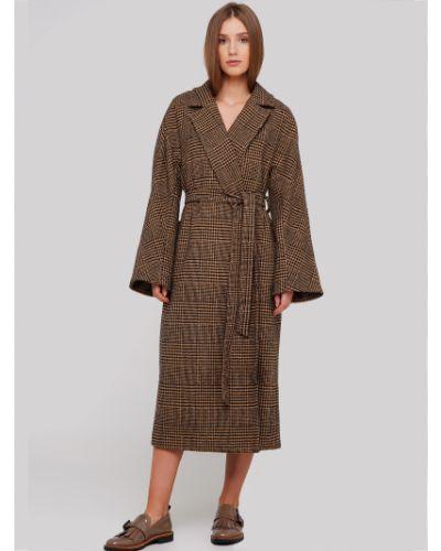 Пальто в клетку двубортное с карманами Anna Yakovenko