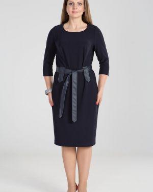 Кожаное платье - синее прима линия