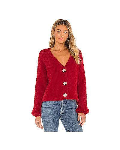 Акриловый пушистый красный свитер Minkpink