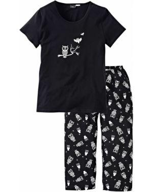 Пижама с брюками с короткими рукавами черная Bonprix