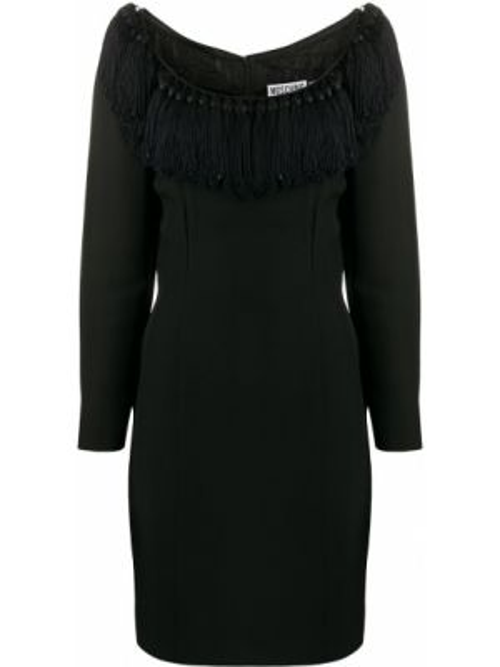 Черное приталенное платье с кисточками с вырезом Moschino Pre-owned