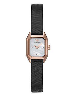 Часы на кожаном ремешке черные кварцевые Emporio Armani