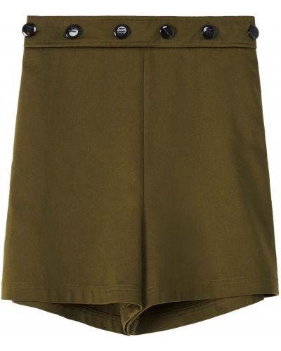 Зеленые шорты атласные Loewe