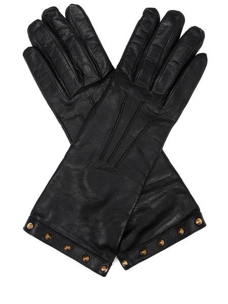 Кашемировые черные классические кожаные перчатки с декоративной отделкой Gucci