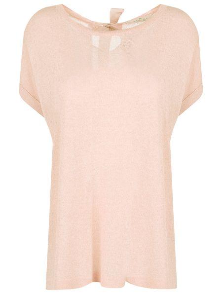 Розовая свободная футболка со стразами с люрексом Panicale