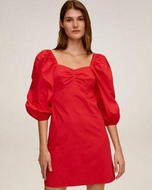 Платье с декольте из поплина Mango