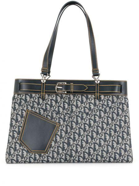 Otwarty niebieski skórzany torba kosmetyczna z kieszeniami Christian Dior
