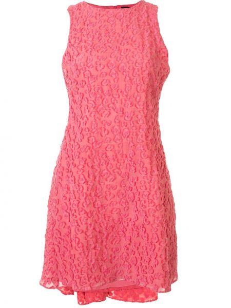 Розовое расклешенное платье мини без рукавов с вырезом Brandon Maxwell