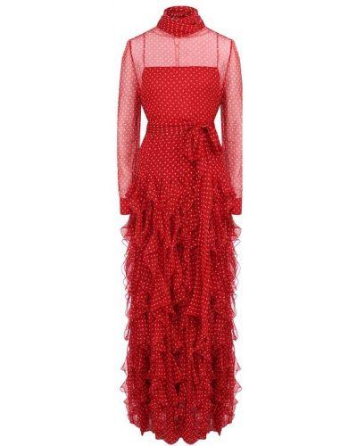 Платье макси каскадное с поясом Valentino