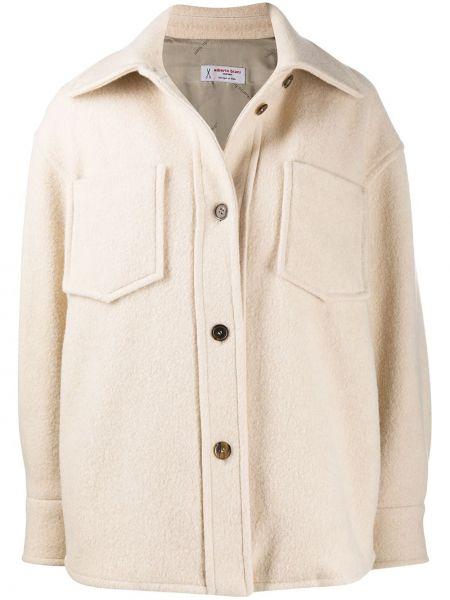 Бежевая классическая длинная куртка с воротником с карманами Alberto Biani