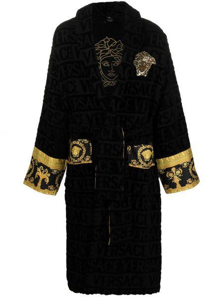 Czarny szlafrok bawełniany z haftem Versace Home