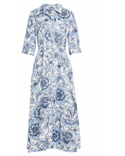 Платье миди с принтом - синее Erdem