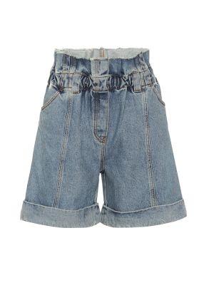 Хлопковые синие однобортные джинсовые шорты со стразами Philosophy Di Lorenzo Serafini