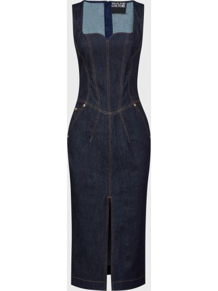 Хлопковое платье - синее Versace Jeans Couture