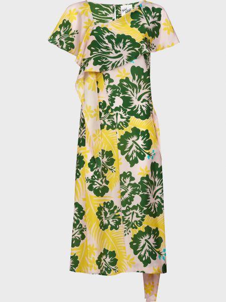 Шелковое платье с поясом на пуговицах Michel Klein