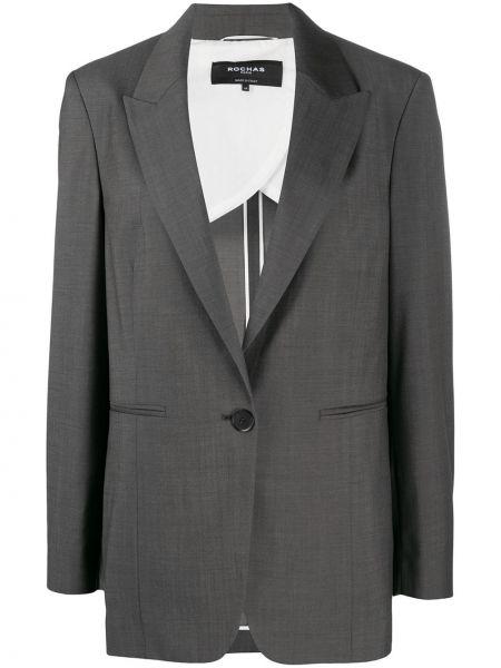 Однобортный серый пиджак с карманами Rochas
