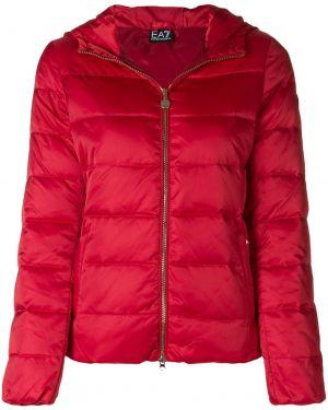 Куртка с капюшоном мятная на молнии с воротником с карманами Ea7 Emporio Armani