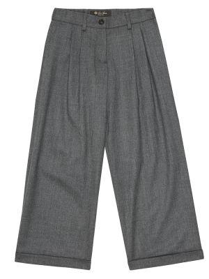 Spodnie szary wełniany spodnie Loro Piana Kids