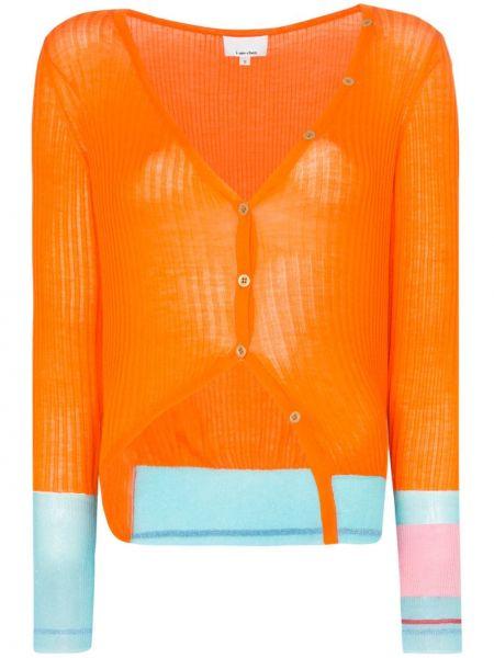 Шелковый оранжевый вязаный кардиган на пуговицах I-am-chen