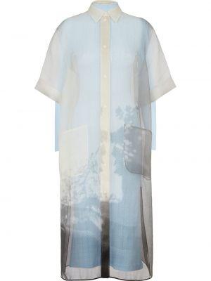 Прямое шелковое белое платье миди Fendi