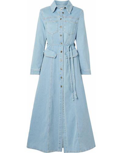Хлопковое платье макси - синее Nanushka