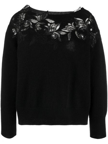 Кашемировый черный ажурный свитер с вырезом Ermanno Scervino