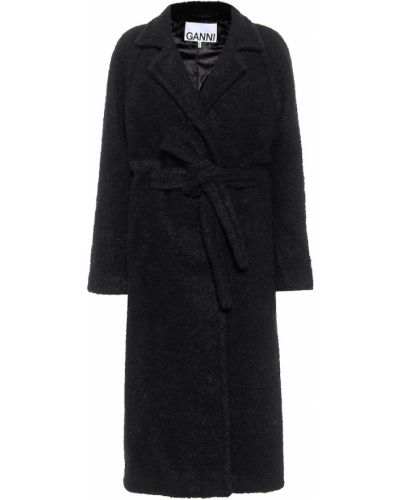 Шерстяное черное пальто Ganni