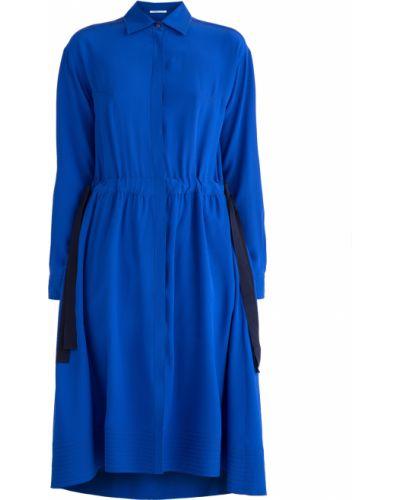 Платье с поясом с отложным воротником шелковое Agnona