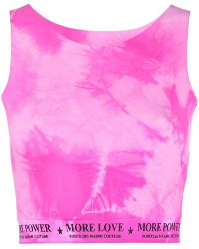 Różowy crop top bez rękawów z printem Forte Dei Marmi Couture