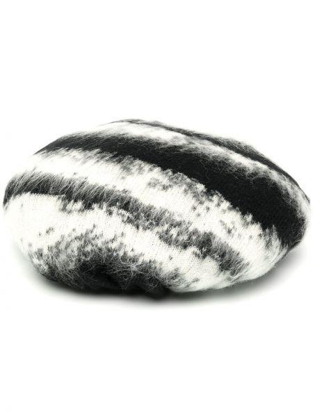 Czarny beret wełniany z printem Moschino
