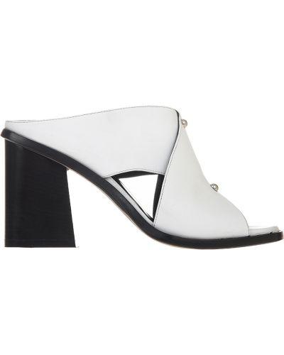 Белые мюли на каблуке Angelo Bervicato
