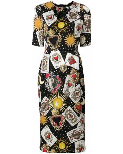 Платье миди приталенное с вырезом Dolce & Gabbana