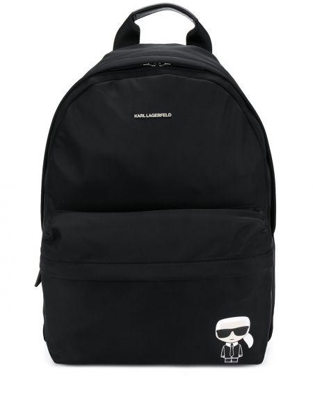 Plecak z printem - czarny Karl Lagerfeld