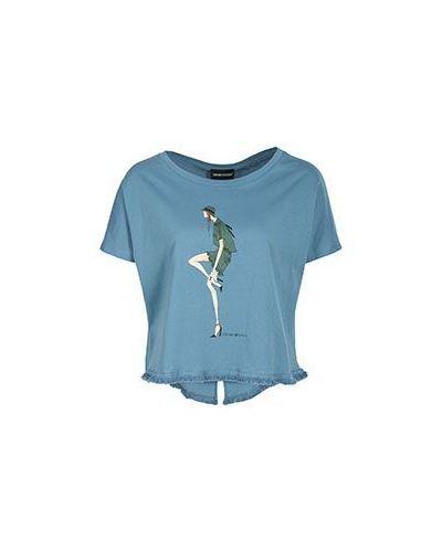 Голубая хлопковая футболка с бахромой Emporio Armani