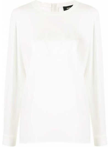 Белая блузка с длинным рукавом с вырезом круглая на молнии Paule Ka